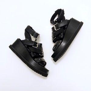 Alexander McQueen Grunge Studded Leather Platform